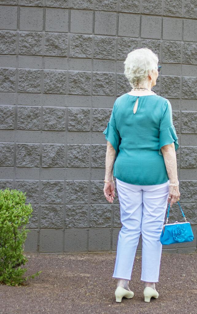 White pants for older women