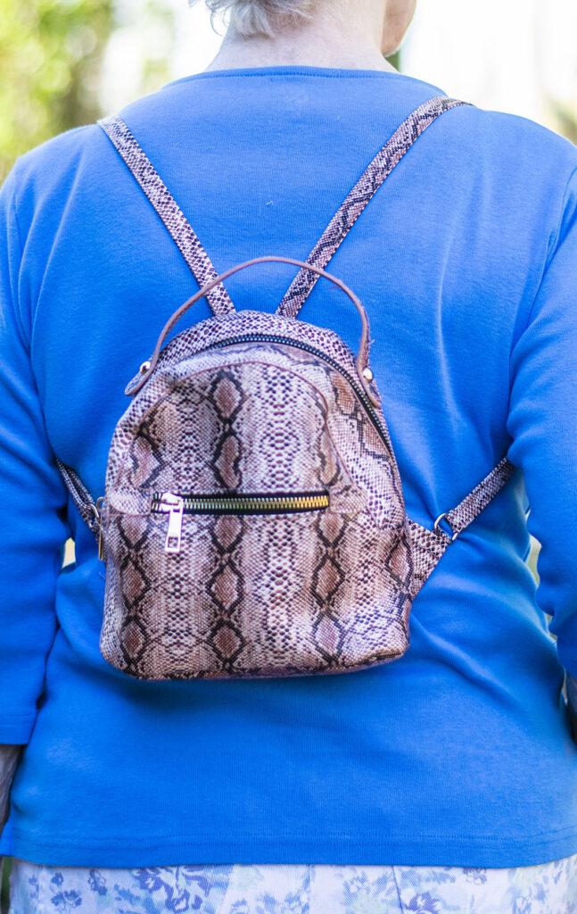 Mini backpack for older women