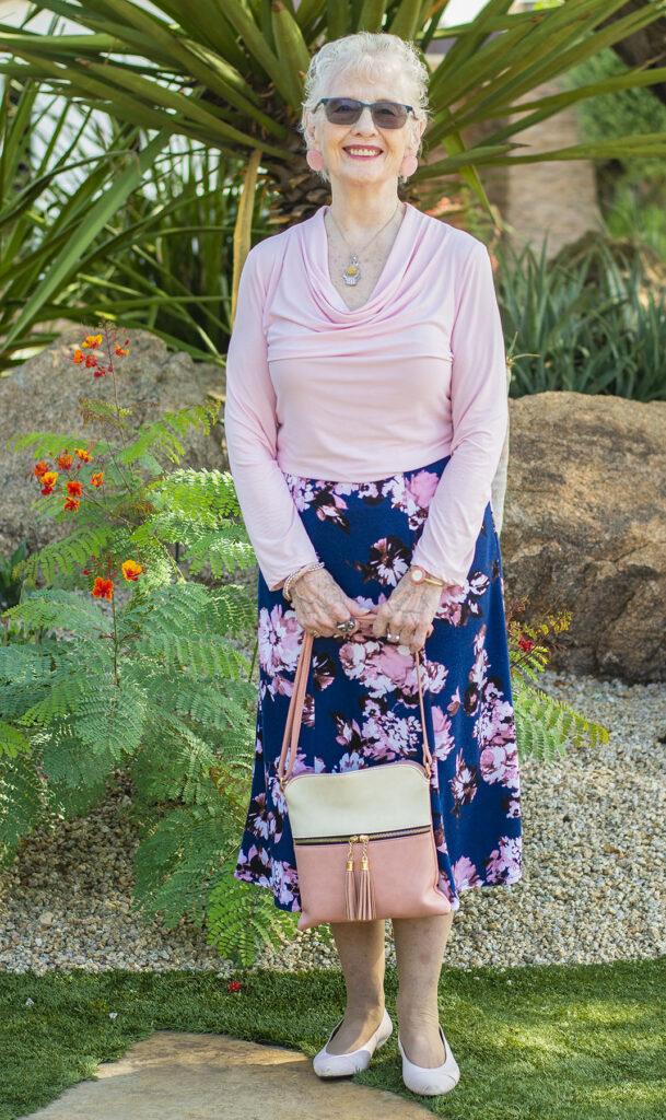 Cowl shirt and skirt combo