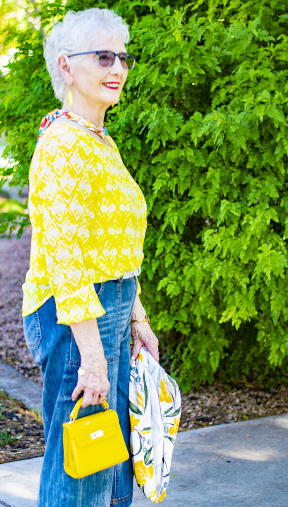 Print mixing with a yellow print summer top