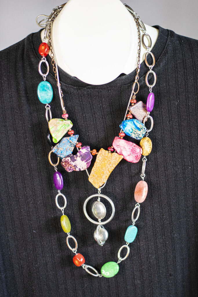Colorful beads and add in silver