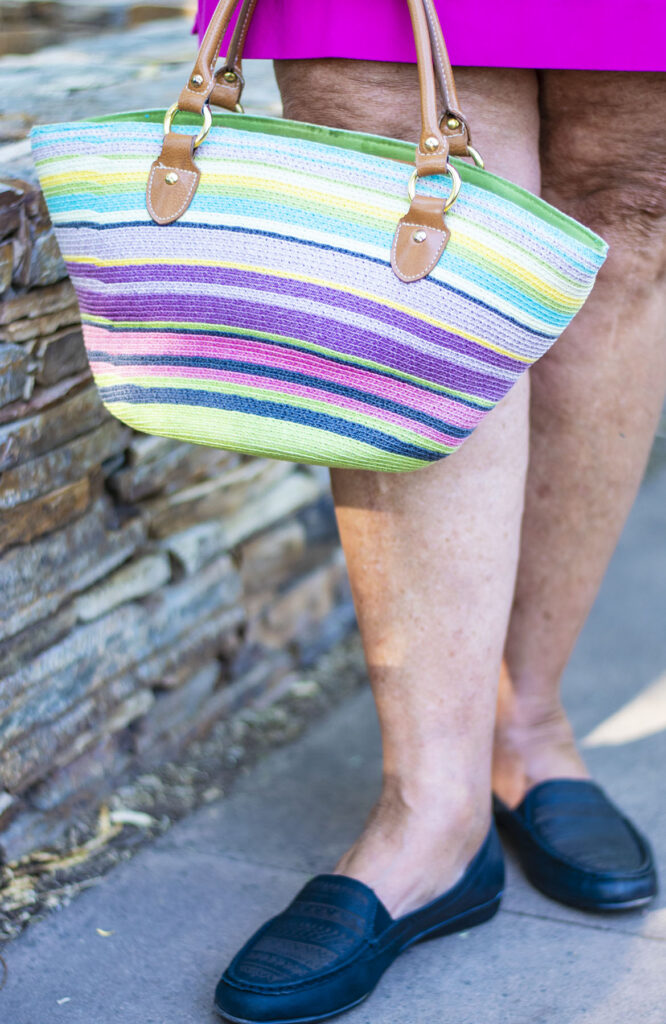 Multicolored purse as a focal point