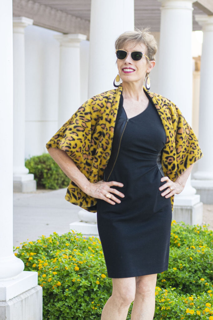 Statement leopard jacket with black dress
