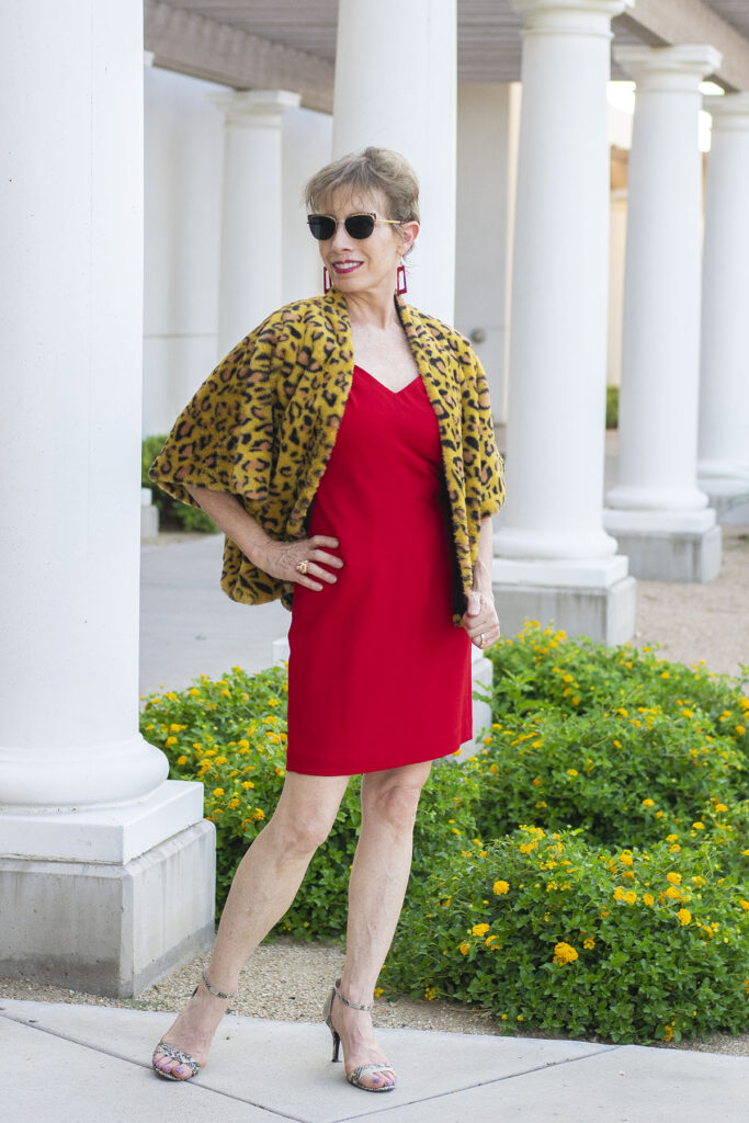 Leopard jacket and red dress