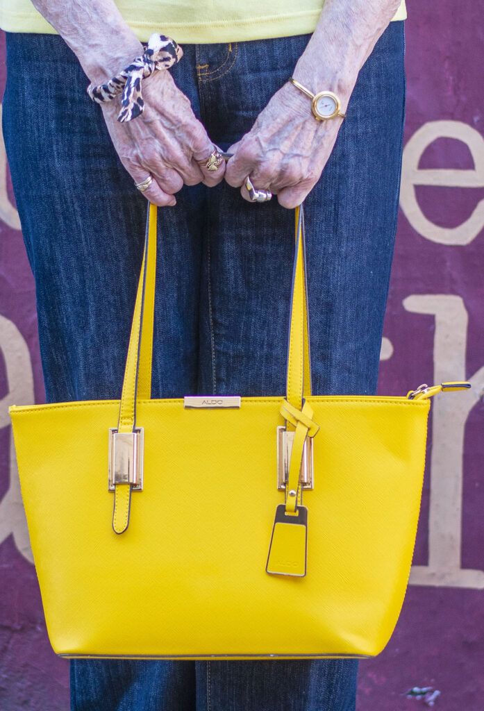 Accessories with petite wide leg jeans