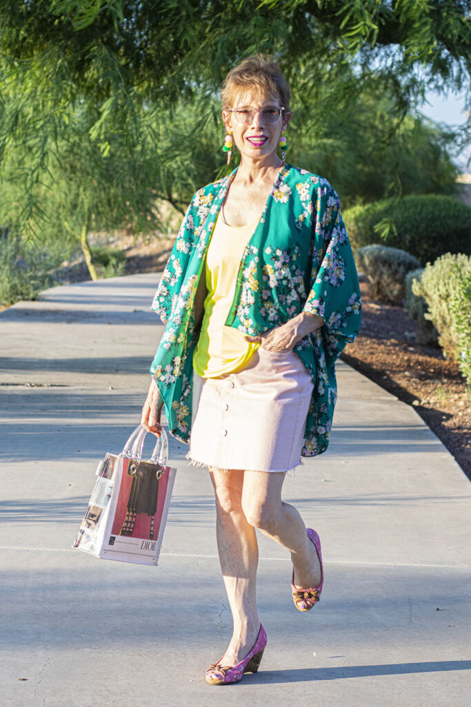 Green print with pink skirt outfit