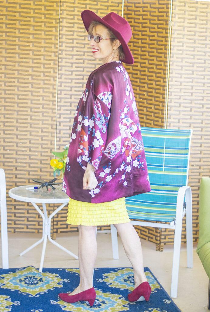 Kimono style over a dress