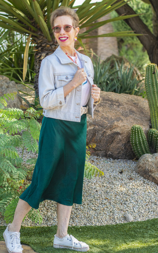 Jean jacket as part of how to style a midi skirt