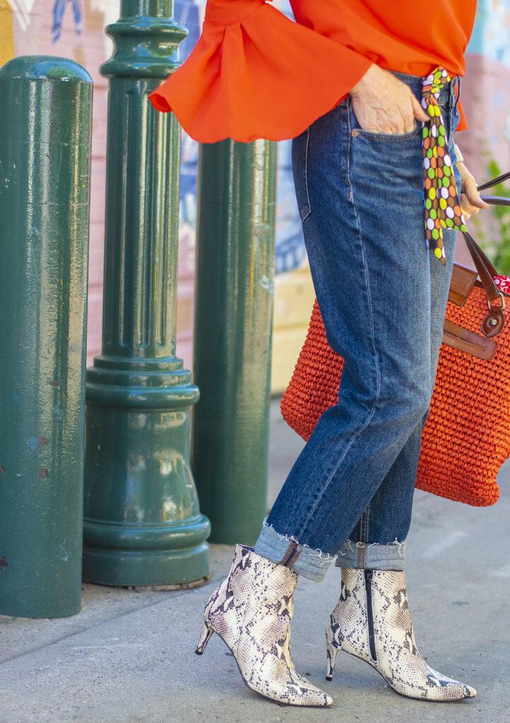 Raw hem on jeans for older women