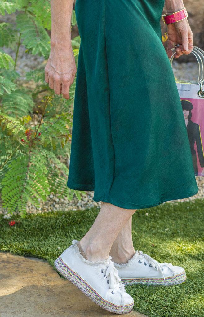 Sneakers and midi skirt