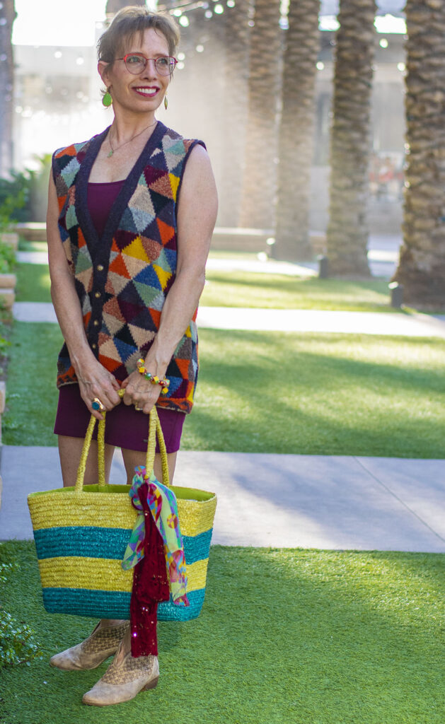 Fall colors with a straw beach tote