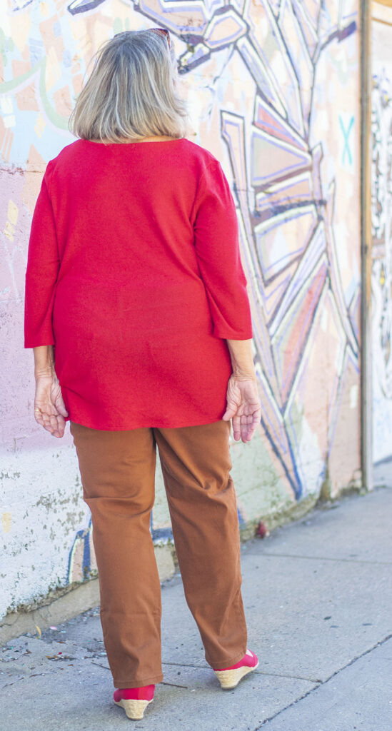Red top and red shoes for older ladies