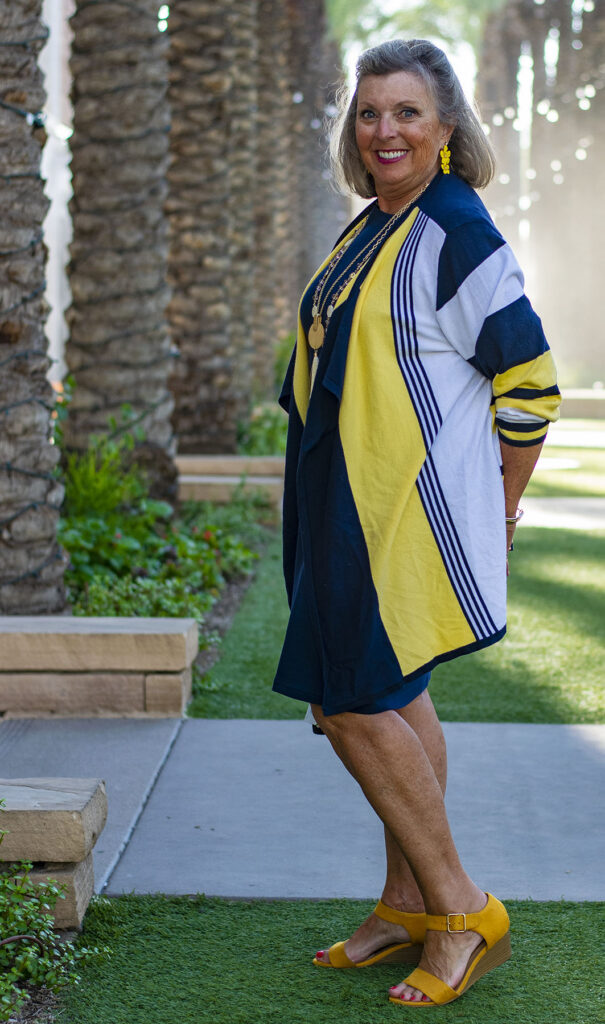 Navy and yellow for women