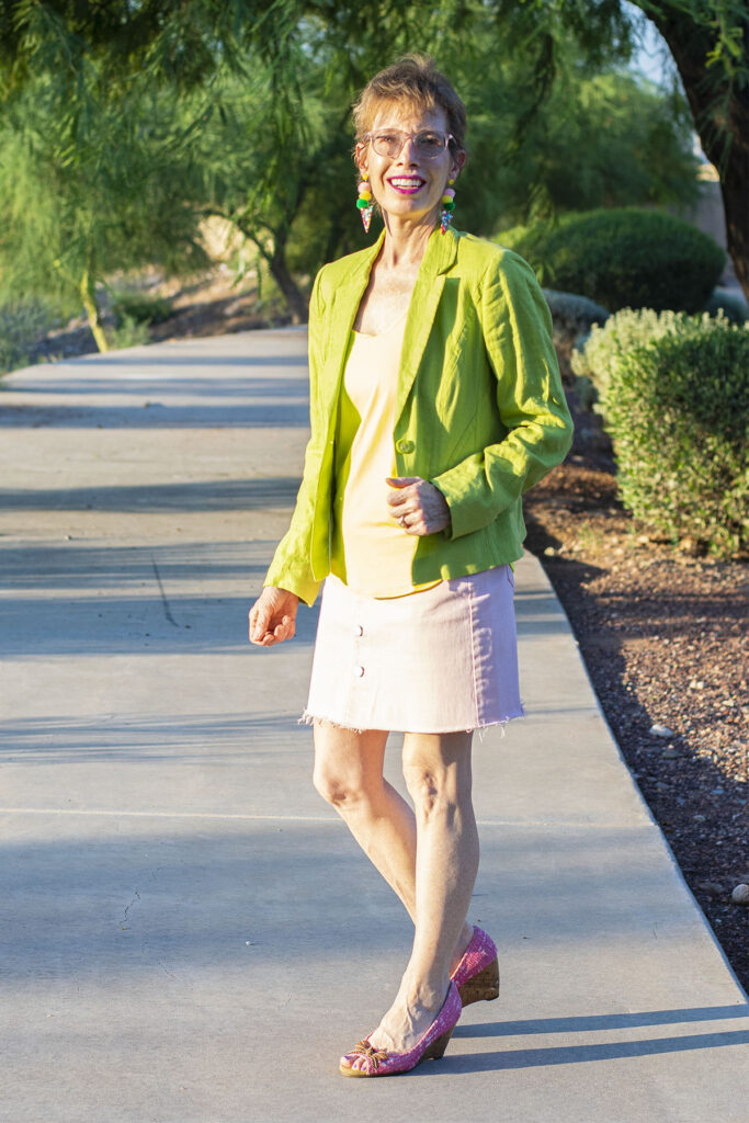 Neon green and pink skirt outfit