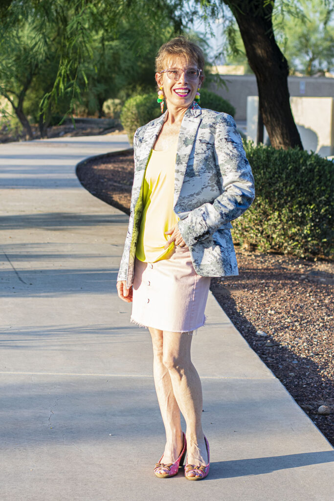 Neutral print with pink skirt outfit
