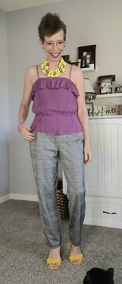 Daily outfit for September with plaid joggers and camisole