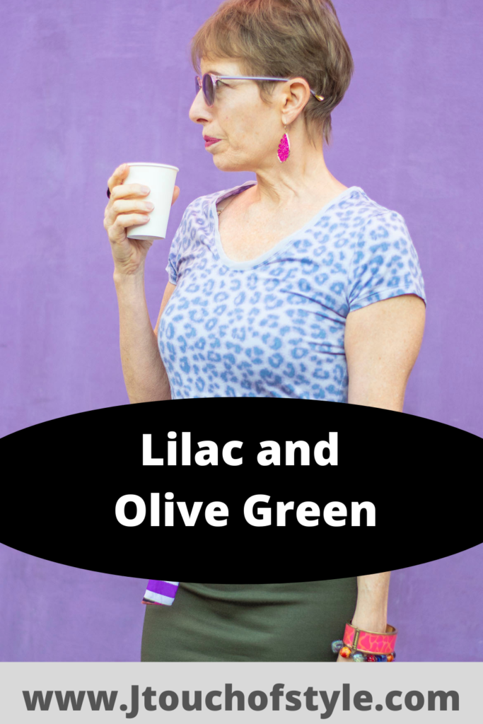 Lilac and olive green