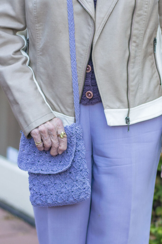 Lilac purse to match the pants