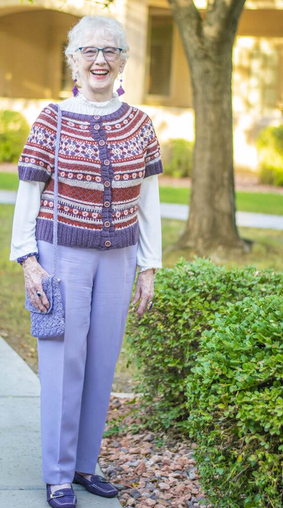 Print hand knit sweater